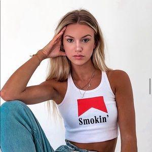 White 'Smoking' Cropped Tank Top Small
